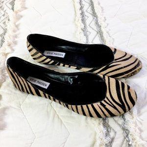 Shoes - Steve Madden Fur Leather Animal Print Flats 10